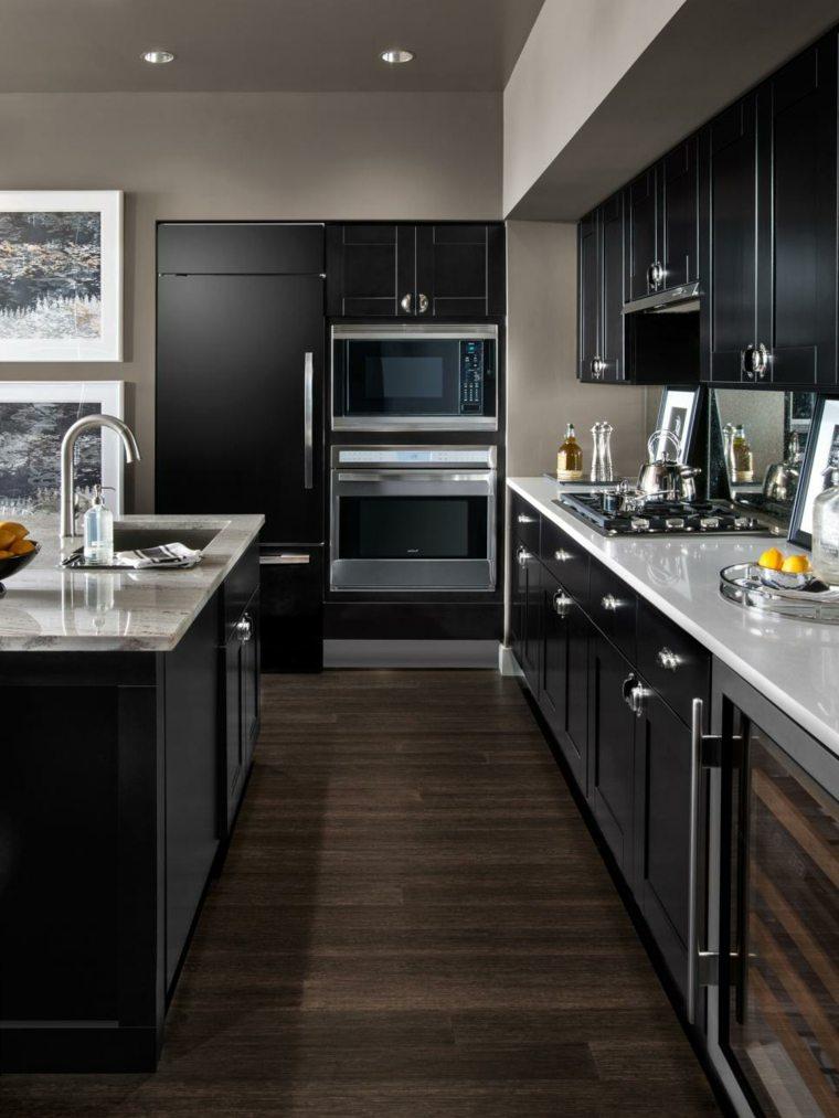 cocina moderna negra isla encimera granito ideas