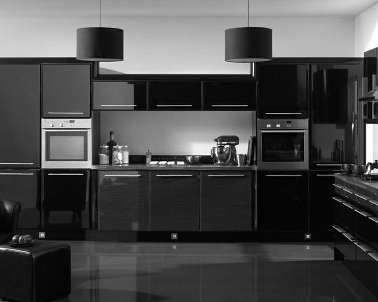 cocina moderna negra lamparas colgando techo ideas
