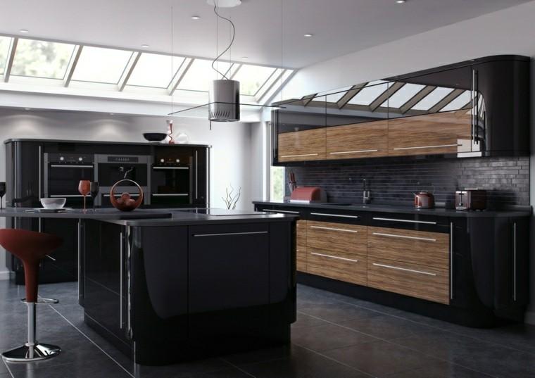 cocina moderna negra muebles madera isla bonita ideas