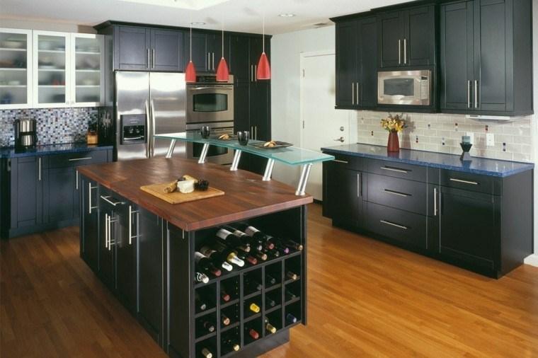 cocina moderna negra muebles madera lugar vino ideas