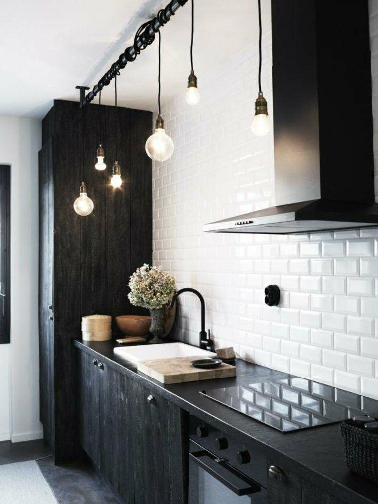 cocina moderna negra muebles madera pared ladrillo ideas