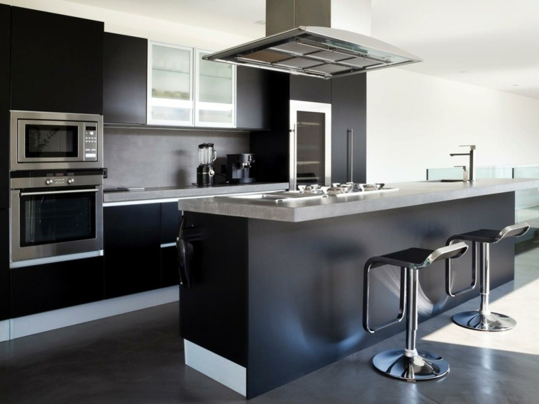 cocina moderna negra pared gris ideas