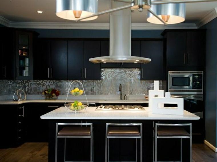 cocina moderna negra pared mosaico gris ideas