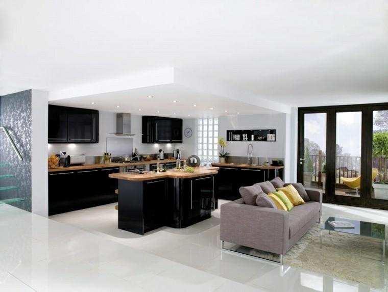 cocina moderna negra paredes blancas ideas
