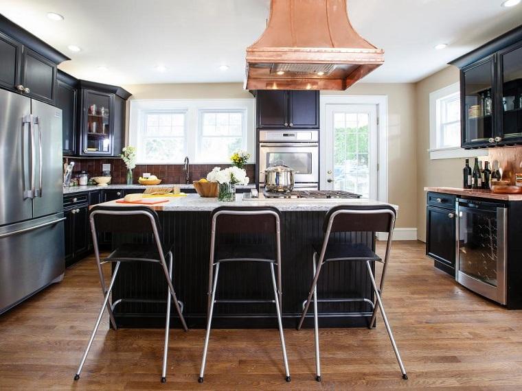 cocina moderna negra sillas altas plegables ideas
