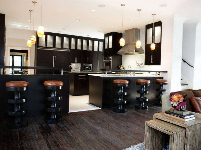cocina moderna negra taburetes cuero ideas