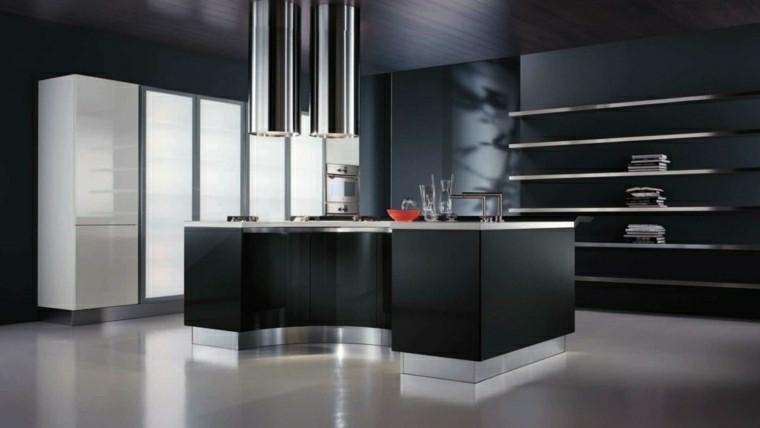 cocina moderna negra varios estantes abiertos ideas