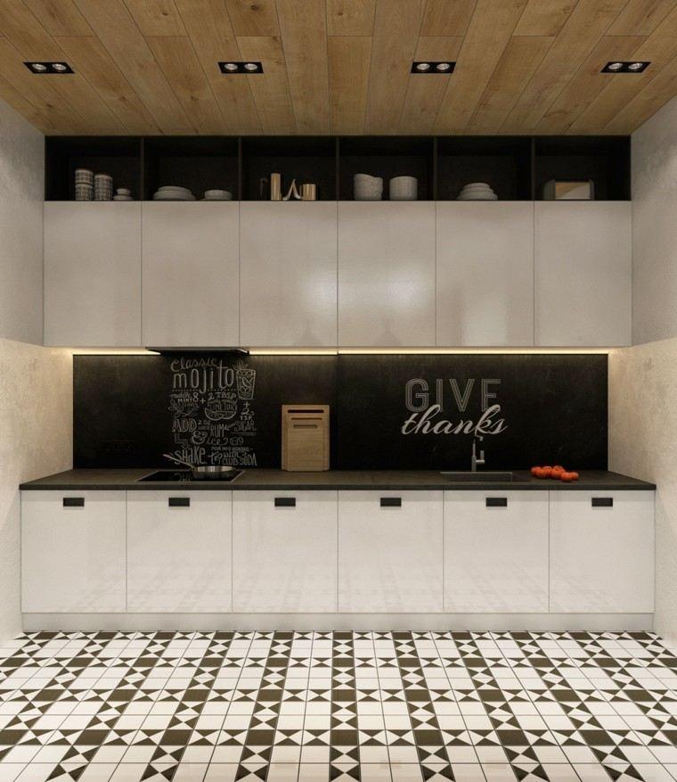 cocina moderna techo madera