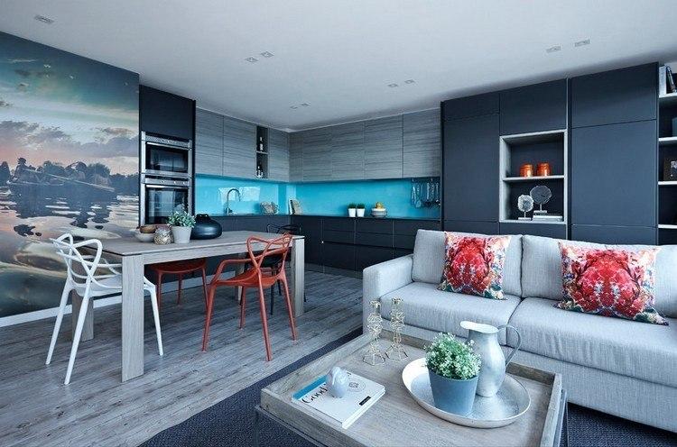 cocina moderna decorada tonos frios