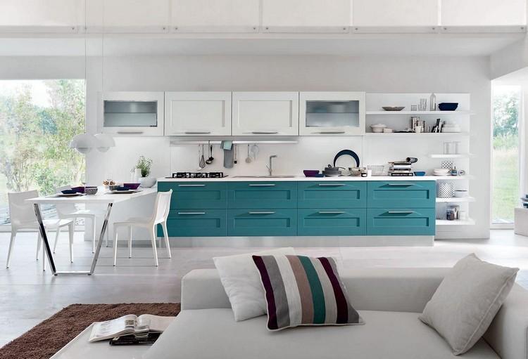 Decoracion de cocinas a todo color 78 ejemplos - Cocinas azul tierra ...
