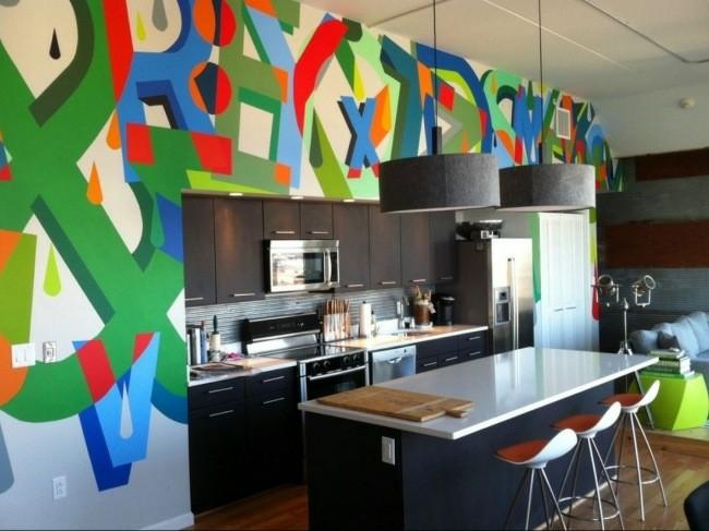 cocina moderna letras paredes