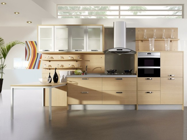 diseño cocina muebles madera clara