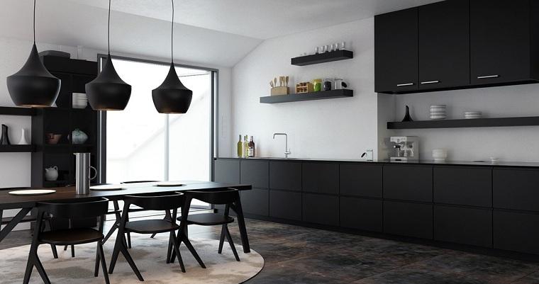 cocina-muebles-negras-paredes-blancas