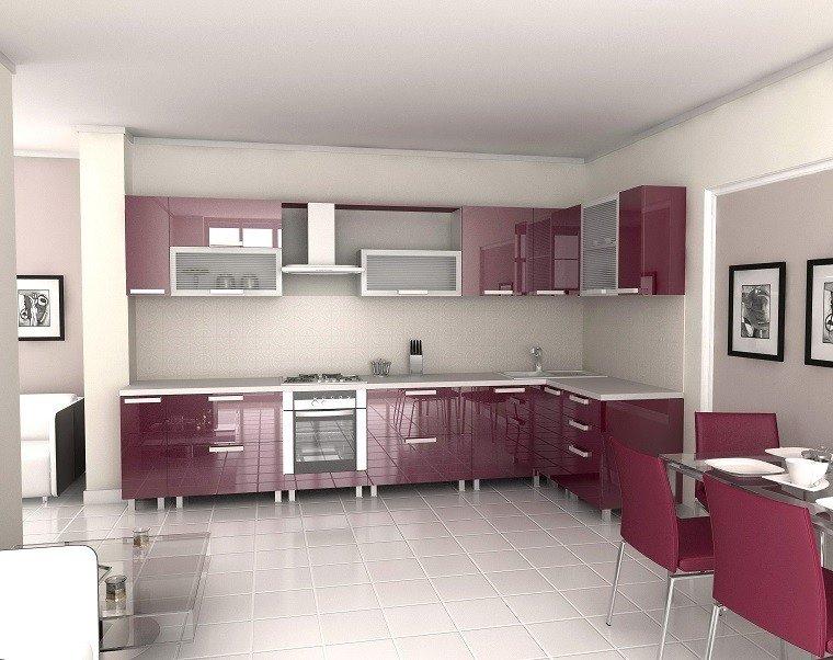 cocina muebles rojos losas blancas suelo ideas
