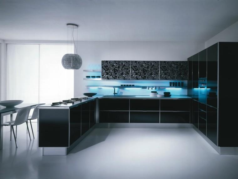 cocina negra luces led azules