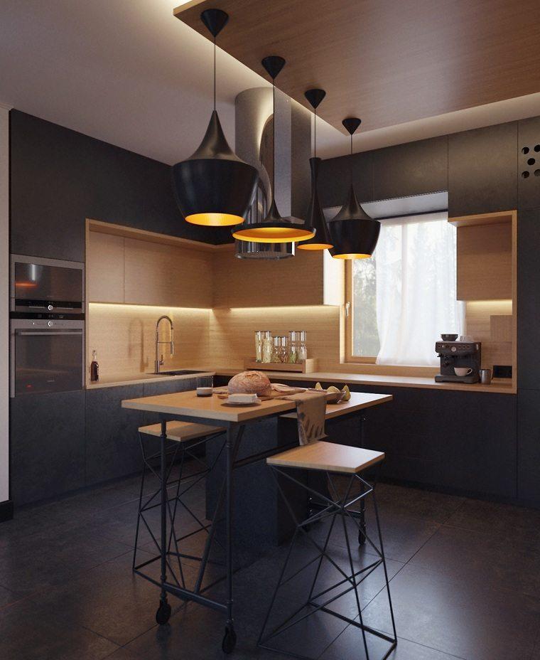 cocina-negro-madera-disenos