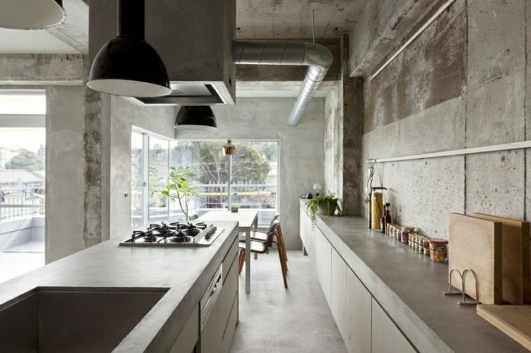 cocina paredes cemento color gris