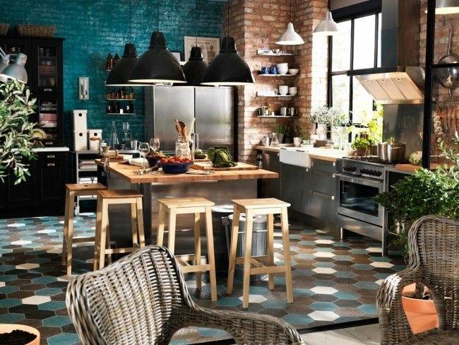 diseño cocina paredes ladrillo visto