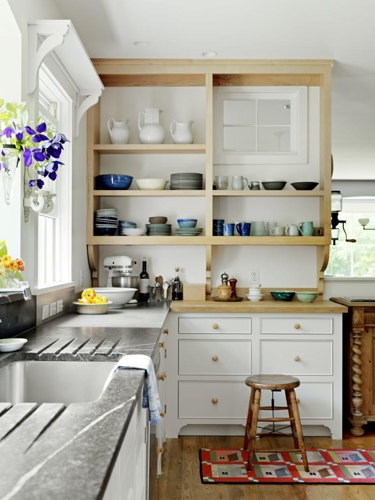 cocina pequeña estante madera natural