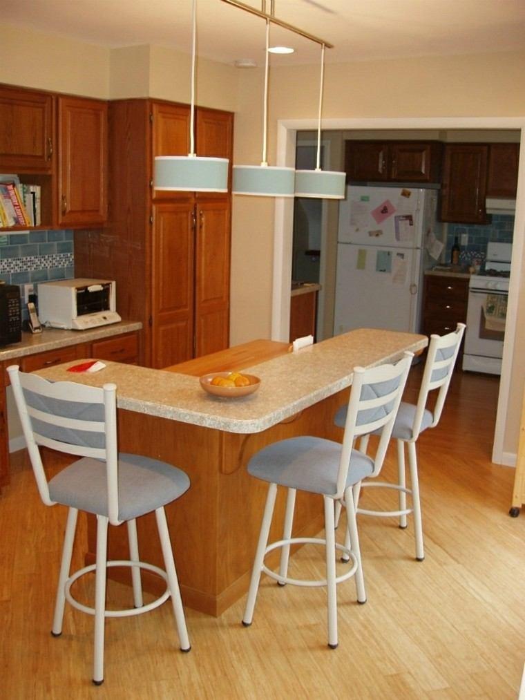 Color blanco y madera de roble para las cocinas modernas - Cocinas en forma de ele ...