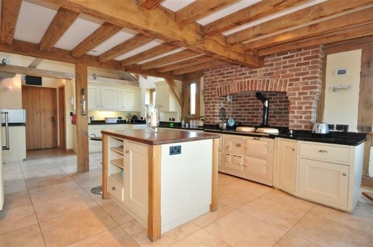 Color blanco y madera de roble para las cocinas modernas - Cocinas rusticas de madera ...