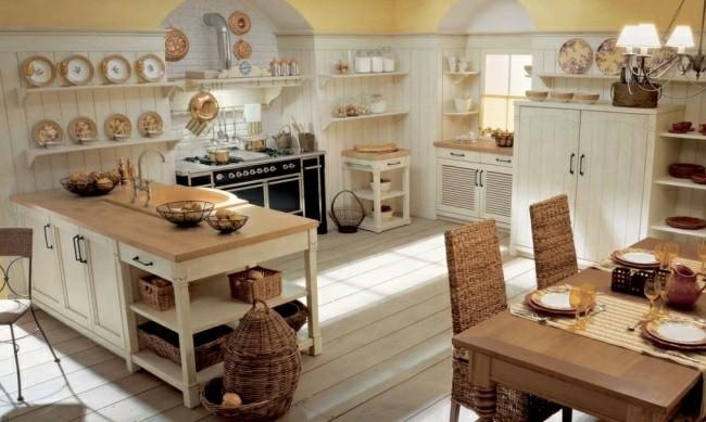 diseño cocina tradicional muebles mimbre