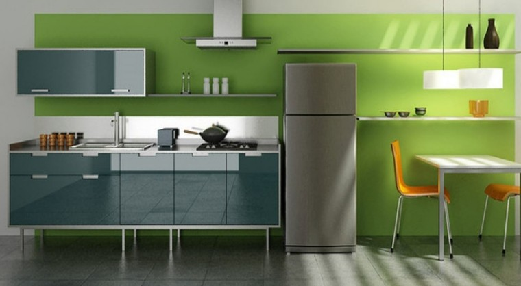 cocina color verde diseño moderno
