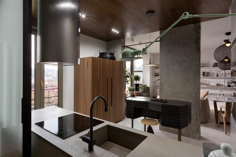 cocina moderna columna cemento pulido