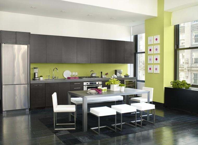 cocinas pintadas verde lima negro