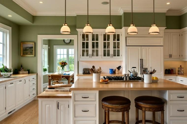 cocinas pintadas color verde oliva