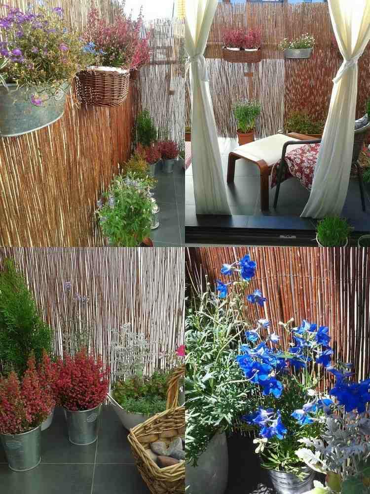collage balcony fence straw flowers