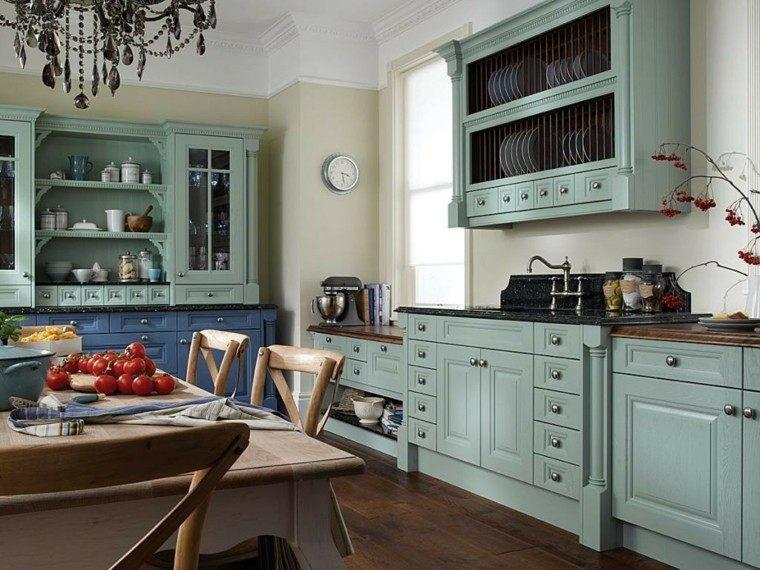 Cocinas pintadas con los colores de moda 50 ideas for Azulejos antiguos para cocina