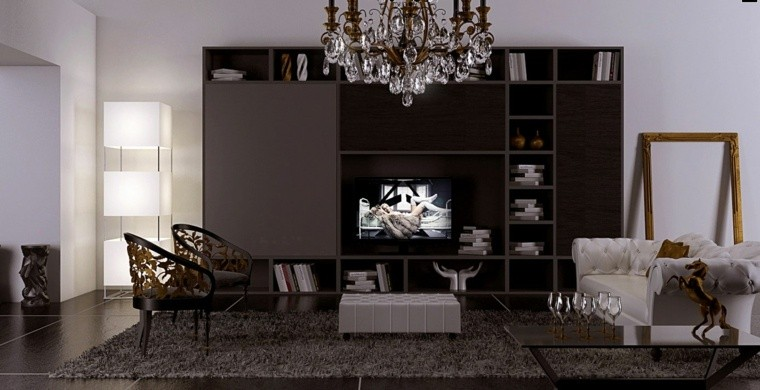 colores oscuros salon moderno alfombra gris ideas
