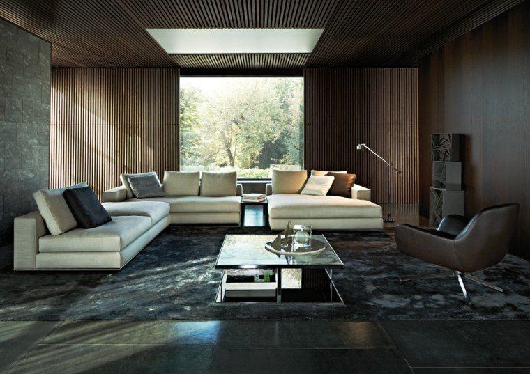 colores oscuros salon moderno alfombra negra ideas