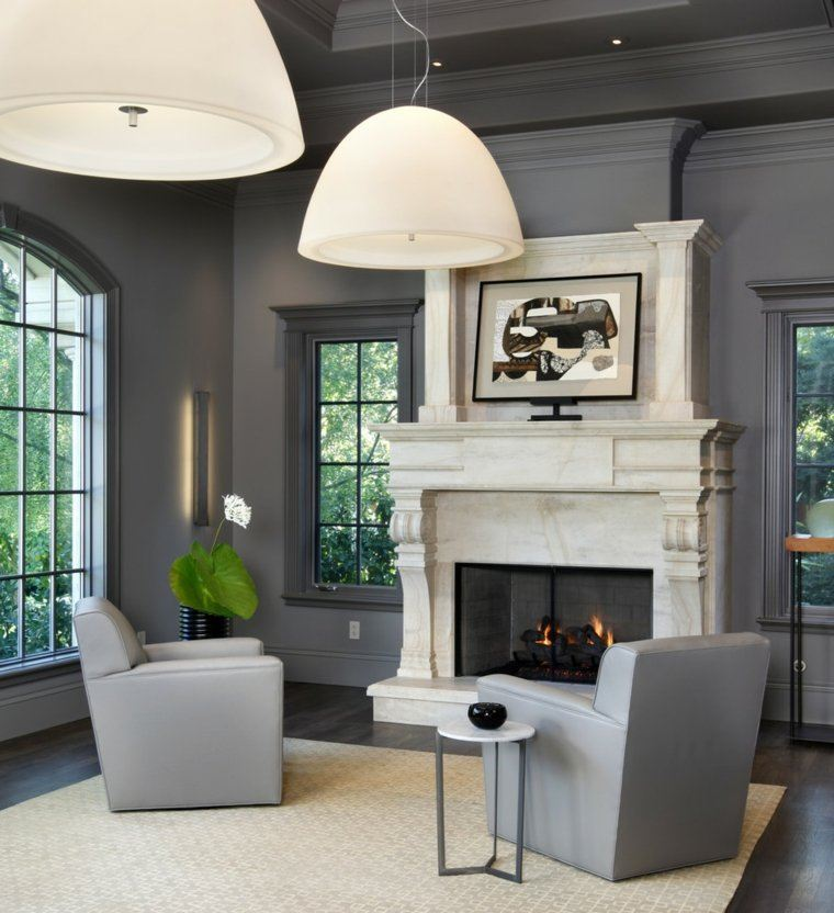 colores oscuros salon moderno chimenea ideas