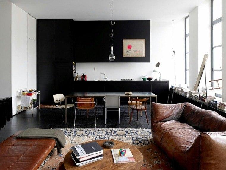 colores oscuros salon moderno cocina negra ideas