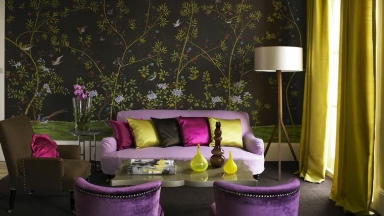 colores oscuros salon moderno cortina amarillas ideas