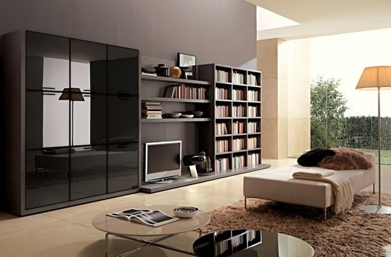 colores oscuros salon moderno estanteria madera ideas