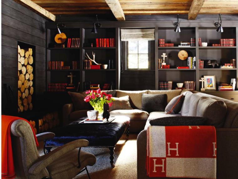 colores oscuros salon moderno estantes negros ideas