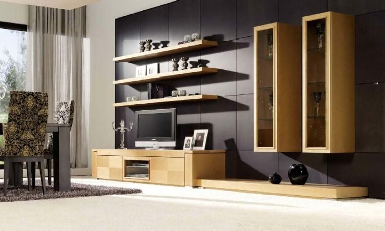 colores oscuros salon moderno estantes pared ideas