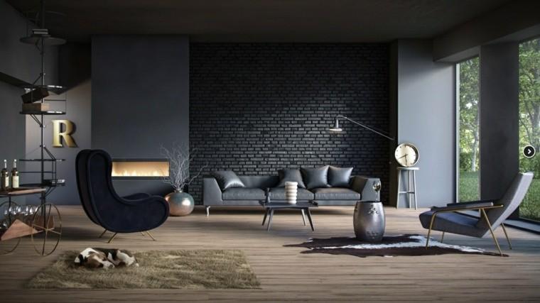 colores oscuros salon moderno ladrillo negro ideas