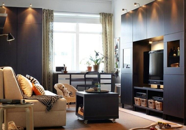 colores oscuros salon moderno muebles madera ideas