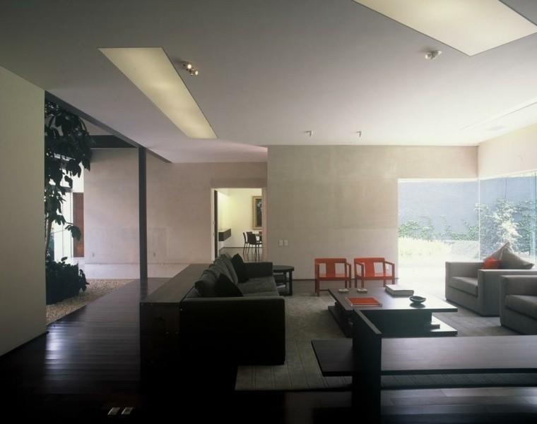 colores oscuros salon moderno muebles negros ideas