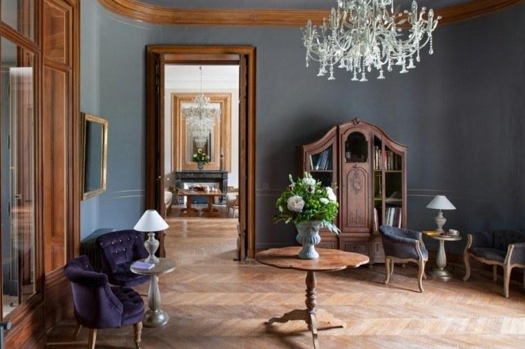 colores oscuros salon moderno sillones purpura ideas