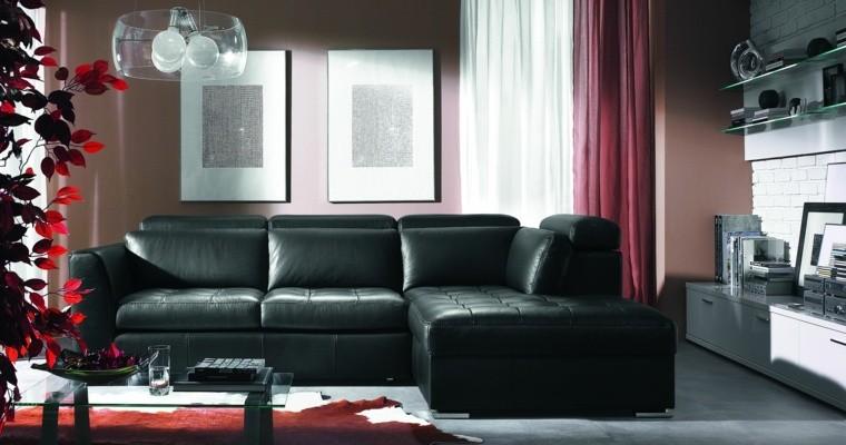 colores oscuros salon moderno sofa cuero negro ideas