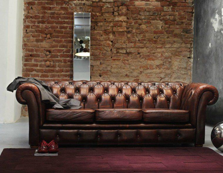 colores oscuros salon moderno sofa cuero ideas
