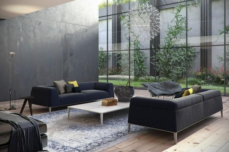 colores oscuros salon moderno sofas pared negros ideas