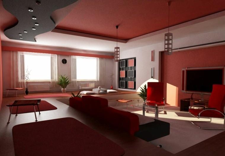 colores oscuros salon moderno techo rojo ideas