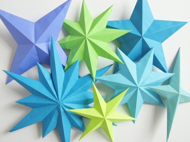 manualidades con papel coloridoazules verde