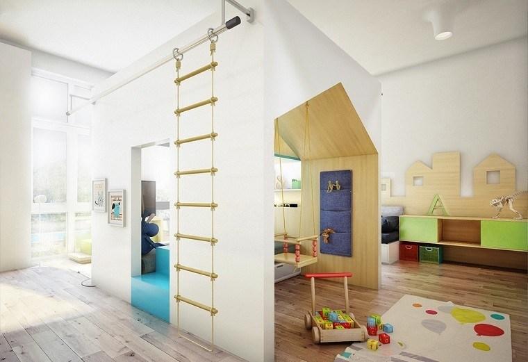 columpio habitacion juegos ninos suelo madera ideas